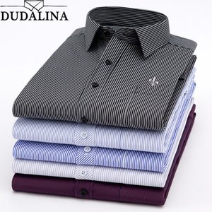 Dudalina New 2020 Men Long Sleeve Shirts Male Striped Classic-fit Comfort Soft Casual Button-Down Shirt Casual Male Shirt Tops CX200801