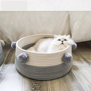 Nordic Pet Cat Bed Kennel Knitted Cotton Anti-scratch Breathable Sleeping House Portable Washable Summer Round Puppy Basket Mat T200618