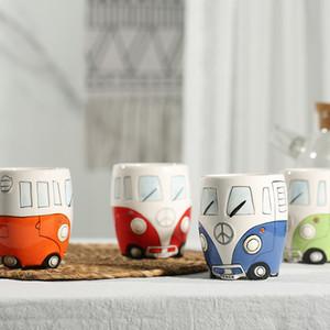 Camper Van Cerámica Autobús Tazas de coches Tazas de dibujos animados Tazas Preciosas Regalos Varitos Tumbler Botellas de café Hand Working Niños Niños Agua del bebé 9 9FY C2