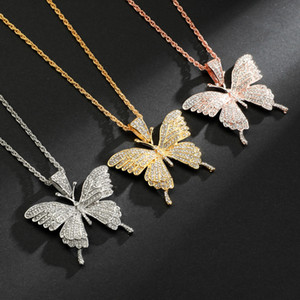 Iced Out Pink Butterfly Pendant Necklace with CZ Chain Pendant Rose Gold Gold Silver Cubic Zircon Men Women Hip Hop Rock Jewelry