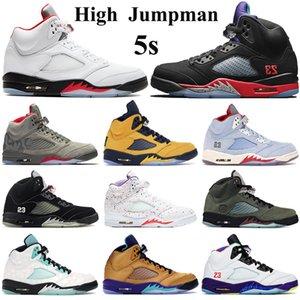 New High 5s Basketball Chaussures Hommes Jumpman sneakers Pâques feu rouge d'argent Tongue 2020 Chaussures de sport noir métallique 23 Formateurs vert île