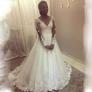 Customized A-line Wedding Dresses Appliques Lace Long Sleeves Floor length Dress Sweep Train Princess Bridal Gowns Plus Size