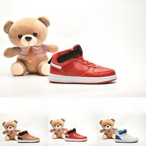 Nuova Università Red Little bambini scarpa classica high-top di progettazione Corte Borough Mid 2 di pallacanestro Scarpe Nero gioco Roya bambini Rosa Sneaker
