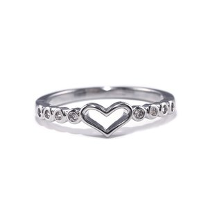 Simple Heart Shaped Gift Rings For Women Special Day Tiny Zircon Rings