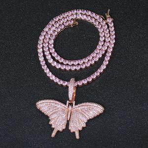 Rose Gold Rosa Schmetterlings-Anhänger-Frauen-Halskette der Männer Hip Hop Halskette Partei Schmuck Geschenk CN165B