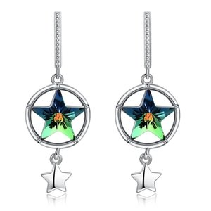 Swarovski element round star earrings hollow hollow shiny chandelier earrings party sparkle jewelry gift POTALA 35B