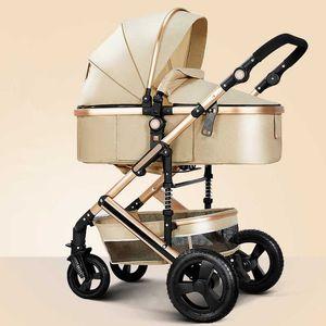 Легкая Роскошная Детская коляска 3 в 1 Портативных Высоких ландшафтного Реверсивной прогулочной коляске Горячей мама Розового Carriage Путешествие Pram