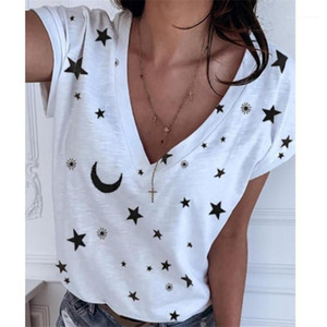 Creative Tshirt Fashion Patchwork Simple Style Tops Short Sleeved V-Neck Cute Casual Girls Undershirt Womens Designer