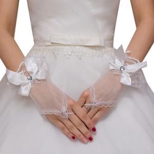Luvas Mulheres Sheer Tulle Wedding Curto dedos de cetim bowknot coração Rhinestone Jewelry Ruffles Lace nupcial formal do partido Mitten
