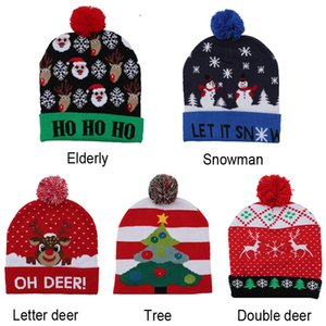 LED Christmas Hats Pompom Knitted Cap Kid Adult Hat Cute Cartoon Santa Claus Christmas Tree Elk Print Hat Beanie Cap Christmas BH2438 WCY