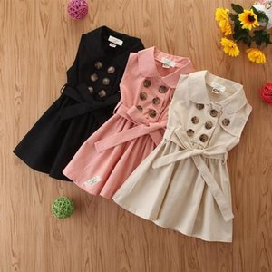 Kids Girls Dresses Double Breasted Children Dress Solid Sleeveless Girl Dresses Summer Toddler Clothes Boutique Kids Clothing 3 Color