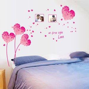 125*96cm Photo Frame Love Flower Wall Stickers Pink Blue Green Orange Purple DIY Wall Art DecalS Decoration Romantic HOME Decor