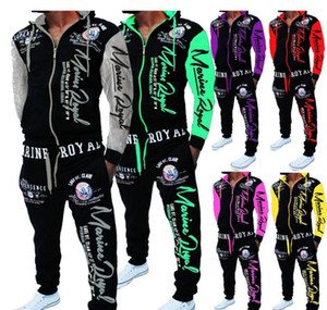 2020 European and American fashion popular casual men's drawstring elastic waist letter printed sports suit hooded top and pants lead the fa