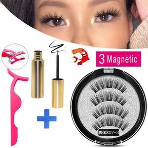 MB 3 Magnetic Eyelashes Magnetic Eyeliner Extension Natural False Eyelash magnets Reusable 3D Mink Lashes Fake faux cils Makeup