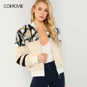COLROVIE O-Ring Zip Up Faux Fur Coat Women Stand Collar Glamorous 2020 Autumn Winter Warm Coats Fashion Multicolor Outerwear