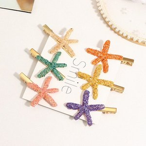 Colore tornante Pentagram Starfish Word clip laterale clip netto Red Girl copricapo Nuovo fiore blu fiore accessori per capelli accessori F x6ig #