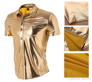 Men's Gold Trendy Nightclubs Bling-bling Short Sleeve Lapel T-shirt Light-faced Performance Dance Shirt Fashion Clothes with Button Clo