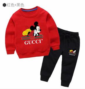 2020 كم الربيع الخريف كلاسيكي فتاة فتى طويل هوديس سروال بدلة رياضية للأطفال أزياء الأطفال 2PCS الملابس القطنية مجموعات هودي معطف الصبي # 129