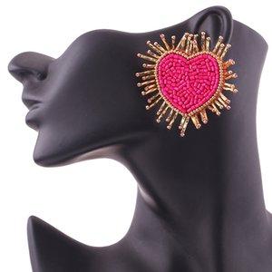 Sehuoran Boho Earrings For Women Handmade Heart Stud Earrings For Women Lovers Gifts Jewellery Oorbellen Fashion Jewelry