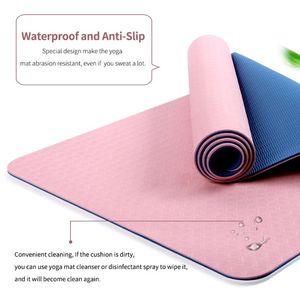 6mm Eco Friendly Yoga-Matte, Positionslinie DIY Non Slip Non Toxic Exercise Kissen mit Schultertasche für Frauen Mädchen nach Hause Gym Training