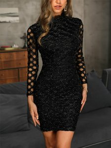 Spring 2020 Women Dress Evening Gown Black Long Sleeve Sexy Elegant Lady Bodycon Hollow A-line Short Dresses Party Night Summer