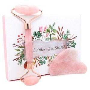 Jade роликовый массажер для лица Lift Тоньше Shaper Массаж Розовый кварц Природный камень Кристалл для похудения красоты и здоровья для ухода за кожей Инструмент
