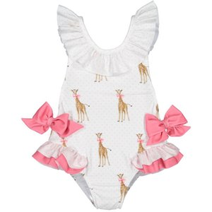 2020 Summer New Girl Swimwear With Hat Children Cartoon Giraffe Bow Kids Cute Swimsuit Clothing 2-7Y E6018