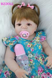 """BZDOLL 55cm Tüm Vücut Silikon Reborn Kız Baby Doll Oyuncak Gerçekçi 22"""" Yenidoğan Prenses Bebek Bebekler Bebek Doğum Hediye T200712"""