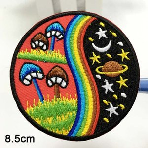 New Arrival Mushroom Rainbow Hippie Cosmic Boho Retro Love Peace Applique Iron On Patch Space Moon And Star