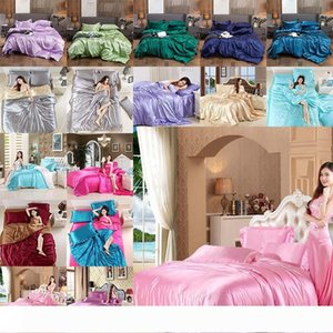 Bedding Set Satin ice Silk Cover Pillow case Bed Sheet Twin Queen King Size Bed Sets Bedclothes Flat Sheet pillowcovers solid color dropship