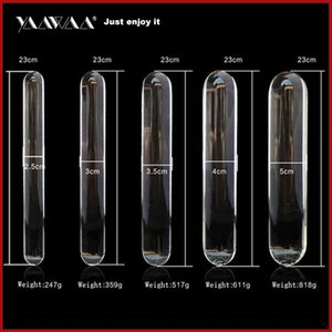 23cm Double heads butt plug glass dildo and Clean and sanitary Huge glass dildo Crystal anal Anal beads fake gay sex toys MX200422