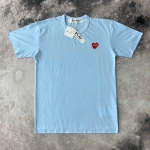 COM высокого качества Мужчины Женщины Commes Серый Новый CDG Вышитые Двойное сердце коротким рукавом футболки вышивки Красное сердце Tee