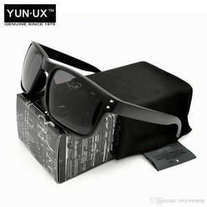 High-Quality Fashion Custom YO92-44 Driving Luxury Polarized Sunglasses for Men SmokeBlack Frame Silver Mark Grey Lens Free Shipping