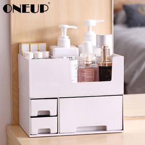 OneUp duplo camada plástica caixa de armazenamento desktop caixa de armazenamento de gaveta de jóias Maquiagem Lipstick Organizer Banho Organizador CX200717