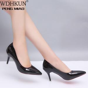 Женская обувь крупноразмерные Boats обувь женщина на высоких каблуках Свадебная Насосы Zapatos Mujer 2020 Толстые каблуки дамы черный красный