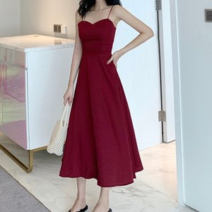 Sexy Backless Long Dress Women Korean Chic Solid Color Gorgeous Spaghetti Strap Dress Summer Red Simple Elegant Vestidos Mujer