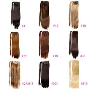 "Greaturemy 22 ""Long Straight Wrap em torno de extensão de rabo de cavalo Sintetic Hairpiecs para meninas 10 cores # 10 # 16 # 27 # 27/613 # 30 # 33 # 4 # 6 # 33 # 4 # 6 # 33 # 4 #"