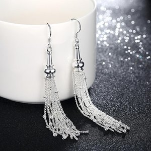 New Romantic Noble Long Earrings Fashion Silver Color Multi LIne Link Chain Round Ball Tassel Earrings for Women Best Gift
