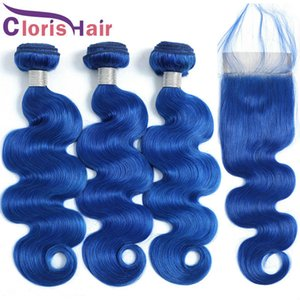 Pre Plucked 4x4 Top Lace Closure With 3 Bundles Raw Virgin Indian Human Hair Extensions Cheap Blue Colored Wavy Weaves Closure Deals
