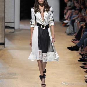 2019 NElegant Evening Party Dress Suit collar color matching waist lace pleated skirt with belt elegant temperament dress J1