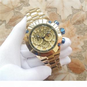 Top quality swiss cosc designer 18k Gold Chronograph Luminous multifunction Complete Calendar Men's Quartz watch