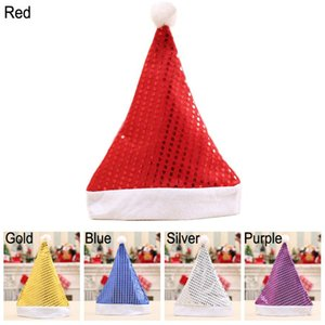 Christmas Tree Decor Hats 12 Pcs Lot Christmas Sequins Cap Santa Cap Decoration Hats Christmas Gifts Hats Party Headwear Props TQQ BH2574