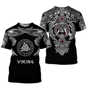 patrón de ropa de la marca de Viking impresión del tatuaje 3D camiseta Hombres camiseta de verano Camiseta divertida de manga corta del O-cuello Tops envío de la gota