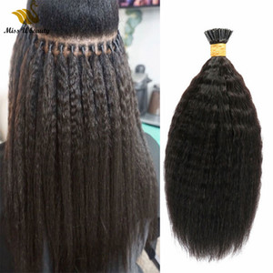 Color natural Remy Virgin Kinky Extensiones de cabello recto Fluffy Human Hair Bundles I TIP TIP TIENDO PELO PREDINADO 100 g