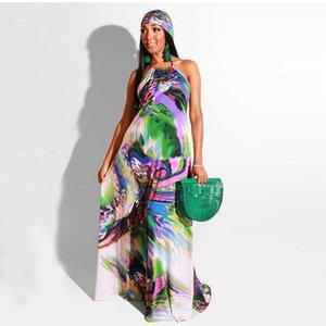 Sleeveless Fashion Clothing Casual Multicolor Beach Dresses Female Clothing Backless Halter Collar Womens Dress Spaghetti Strap