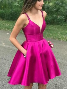Spaghetti Strap Satin Homecoming Dresses Short Knee-Length V-neck Sleeveless Open Back Prom Party Gown with Pockets