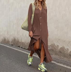 Moda Yeni Bayan Yıldız Casual tek parça Suit V-Yaka Uzun Kollu Sokak Stili Elbiseler Gevşek Gömlek Etek Hediye Boyut S-3XL