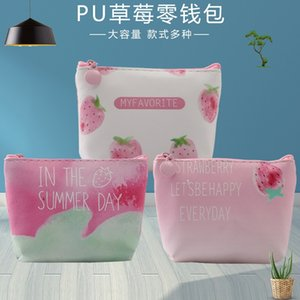 2019 creative Japanese style strawberry mini wallet short Pu Strawberry coin bag purse printed coin bag