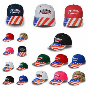 Donald Trump Baseball Hat Star USA Flag Camouflage Cap Trump 2020 Hats 3D Embroidery Letter Adjustable Snapback for Party Supplies RRA3306