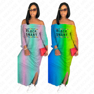 Preto Smart mulheres carta de designers vestido longo cor gradiente verão shoulderless maxi vestidos off ombro ocasional praia vestido D7613